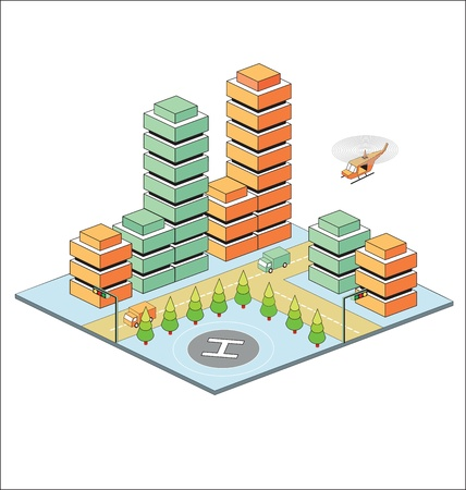 computer model: Town in isometric view with the landscape
