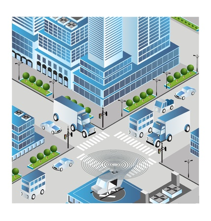 Town in isometric view with the landscape Vector