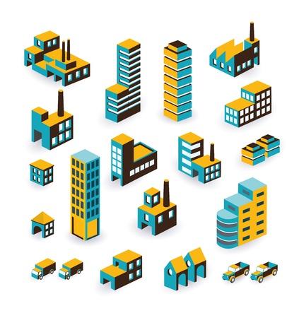 Un insieme di edifici urbani e industriali nel isometrica