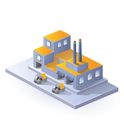 Imagen de la fábrica en proyección isométrica en un fondo blanco