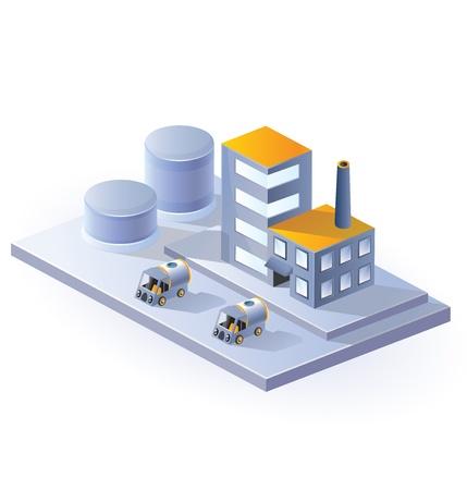 Image Factory in proiezione isometrica su uno sfondo bianco