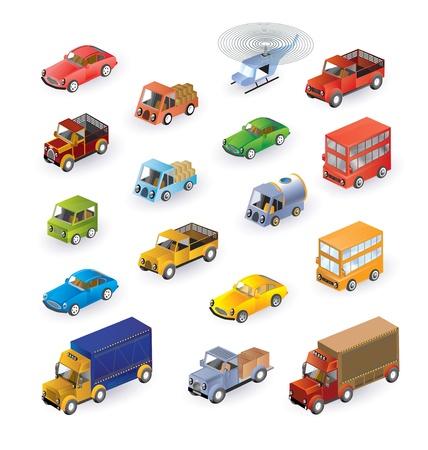 Set bestaande uit voertuigen in de isometrische Stock Illustratie