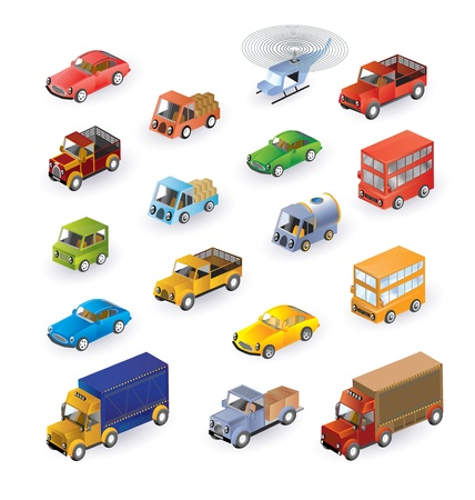Set consisting of vehicles in the isometric Vector