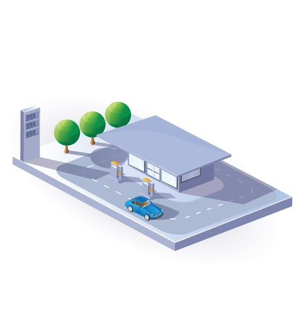 Immagine di un distributore di benzina nella vista isometrica su uno sfondo bianco