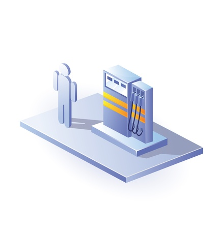 Isometric view of gasoline columns on a white background Vector