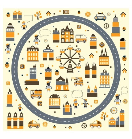 A stylized image of urban facilities and people on a yellow background