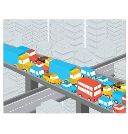 Isometric view of the highway with many cars Illustration