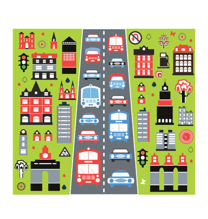 A stylized image of the urban automobile traffic in the big city Stock Vector - 12038344