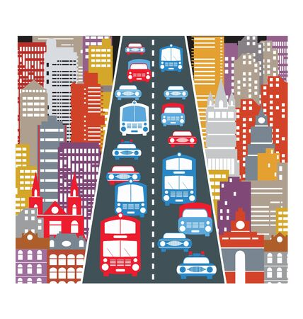 A stylized image of the urban automobile traffic in the big city Vector