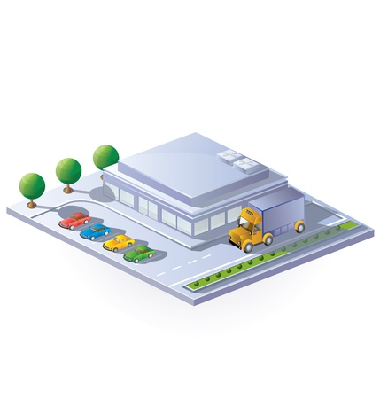 isometric view of a supermarket on a white background