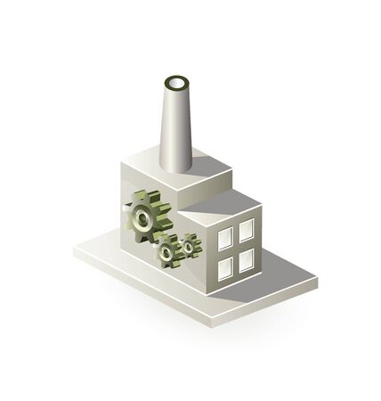 factory power generation: Image factory in isometric projection on a white background