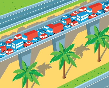Isometric view of the highway with many cars Vector
