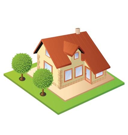 Isometria in casa contro lo sfondo di prato verde e alberi