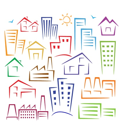 logo batiment: Illustration sch�matique des diff�rents types de maisons de diff�rentes couleurs sur un fond blanc
