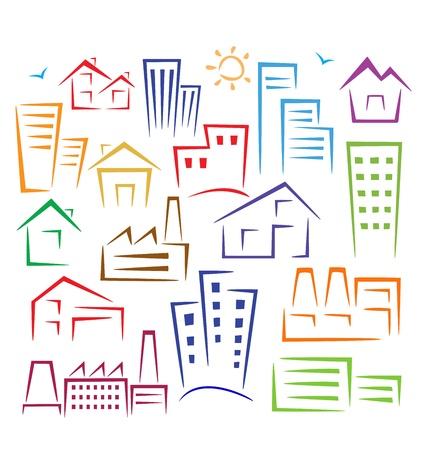 Rappresentazione schematica di diversi tipi di case di diversi colori su uno sfondo bianco