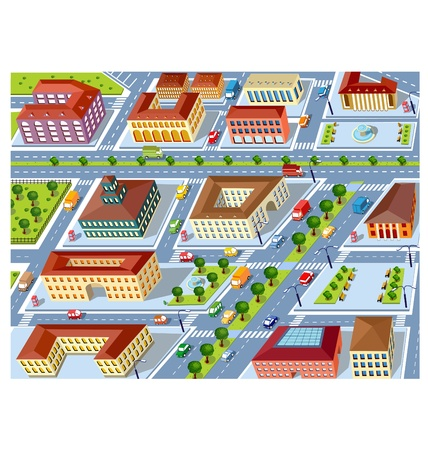 Perspective view of the urban neighborhoods of the city with buildings and vehicles Illustration
