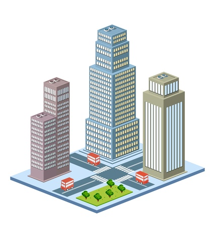 Vector isometric view of the urban district with high-rise buildings Stock Vector - 12480790