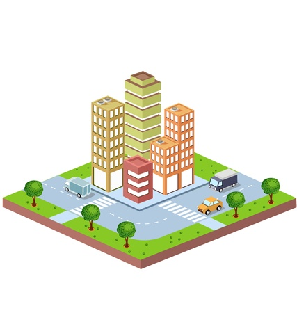 Vector isometric view of the urban district with city buildings