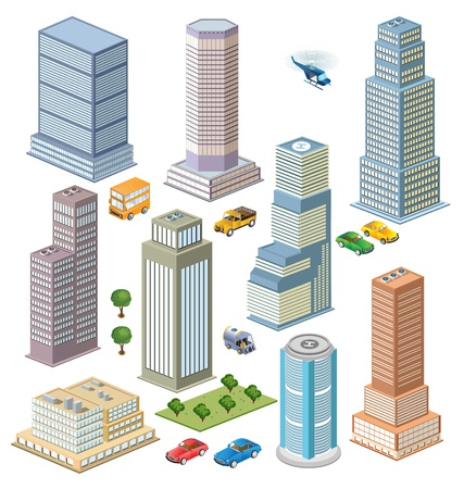 building activity: Isometric views of city skyline with trees and transport Illustration