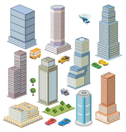 Viste isometriche di skyline della città con alberi e dei trasporti