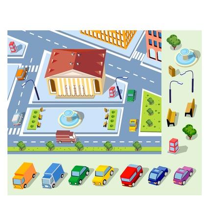 Vector vista isometrica del distretto urbano del centro storico