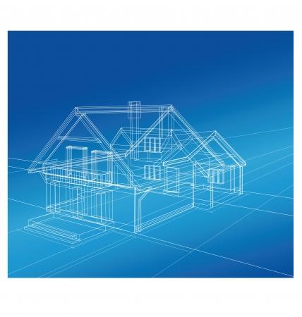 construct: Plan een landhuis op een gekleurde achtergrond Stock Illustratie