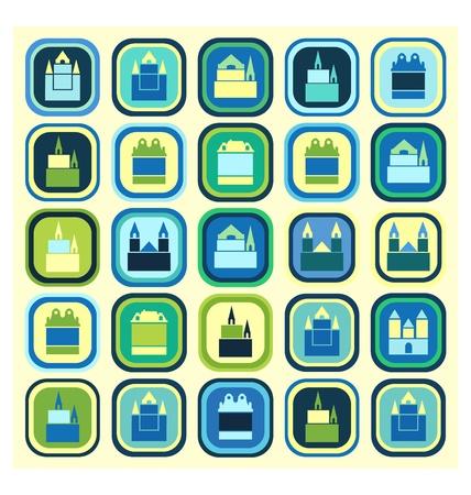 Mosaico urbano sobre fondo de color Ilustración de vector