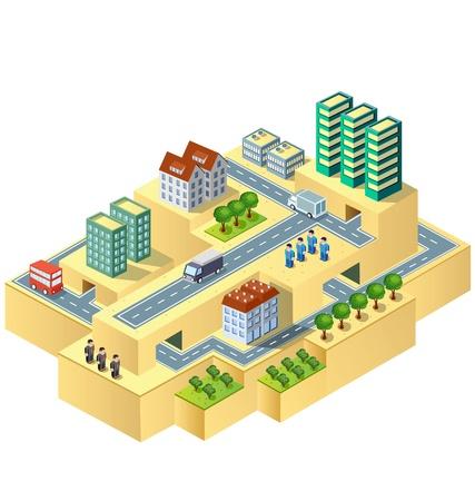 Town in vista isometrica con il paesaggio