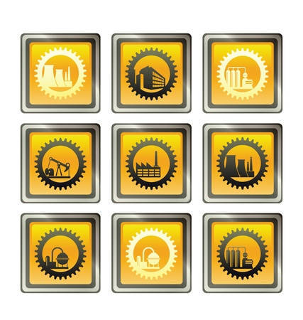 Industrial buildings on the background of gears Vector