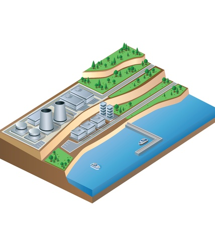 Isometric view of part of the landscape with industrial buildings Vector