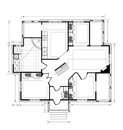 interior plan: Plan a country house on a white background Illustration