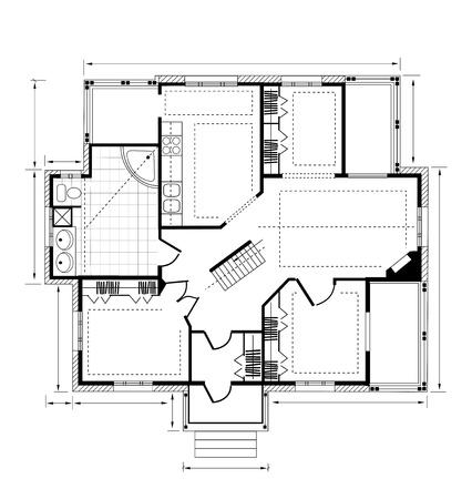Planifiez une maison de campagne sur un fond blanc