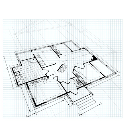 urban planning: Plan a country house on a white background Illustration
