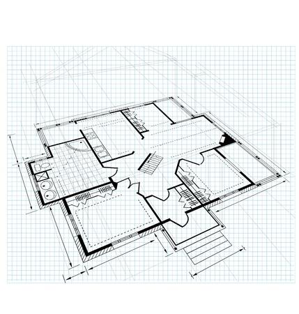 construct: Plan een landhuis op een witte achtergrond