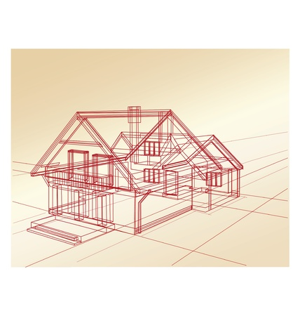 Plan de una casa de campo sobre un fondo rosa
