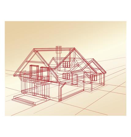 plan maison: Planifiez une maison de campagne sur un fond rose