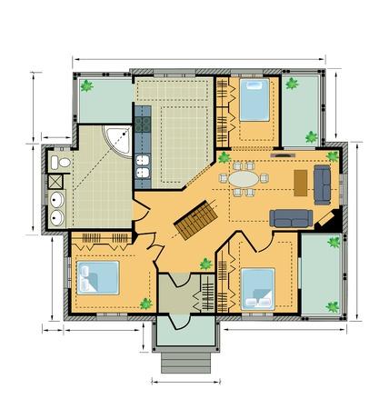 planning diagram: Colore country house Plan su uno sfondo bianco Vettoriali