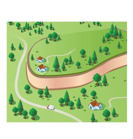 Vector è un disegno isometrico del terreno bosco con alberi e strada
