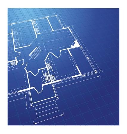planning diagram: Pianificare una casa di campagna su uno sfondo colorato Vettoriali