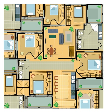 office plan: Color Plan  house on a white background