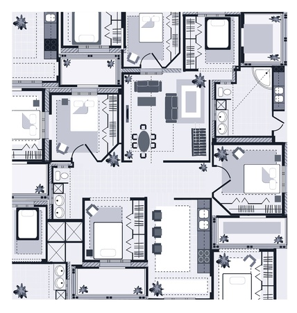 office plan: Grey House Plan on a white background