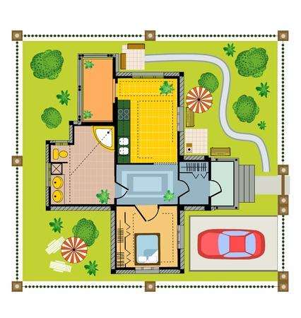 plan maison: Maison de campagne Couleur plan sur un fond blanc