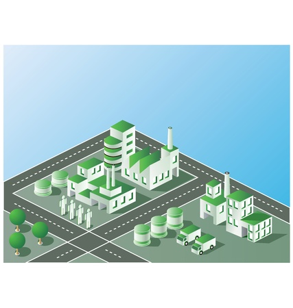 nuclear symbol: Industrial plant  in isometric view with the landscape