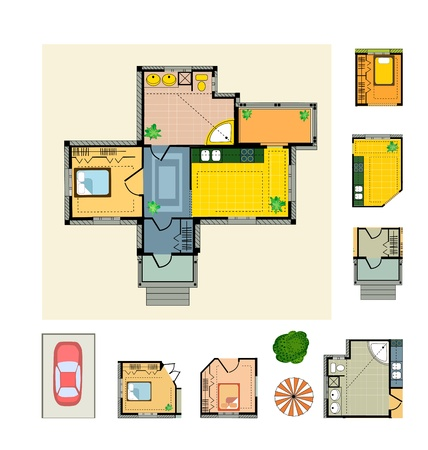 office plan: Color Plan country house on a white background