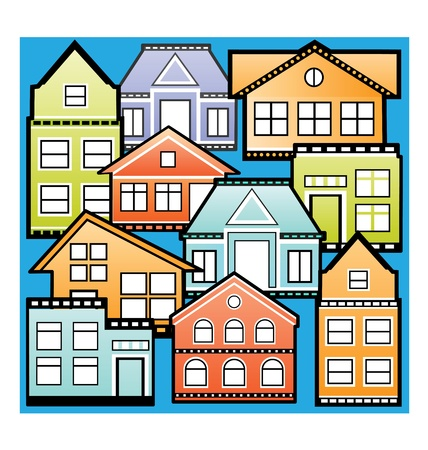 Various variants of houses on the blue Vector