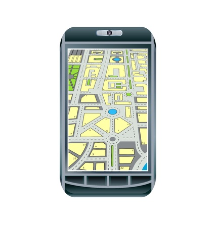 Mobile touch phone with GPS Vector