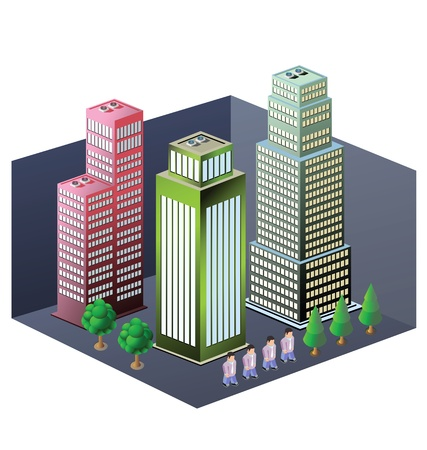 Isometric image of a fragment of the city on a white background Vector