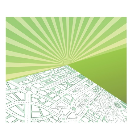 Isometric map of the city against the backdrop of the sunset Vector