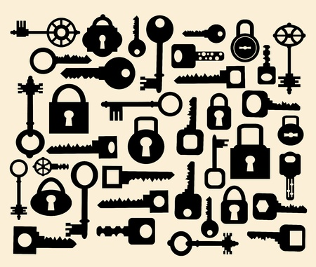 Silhouettes set of keys and locks on a yellow Stock Vector - 12480615
