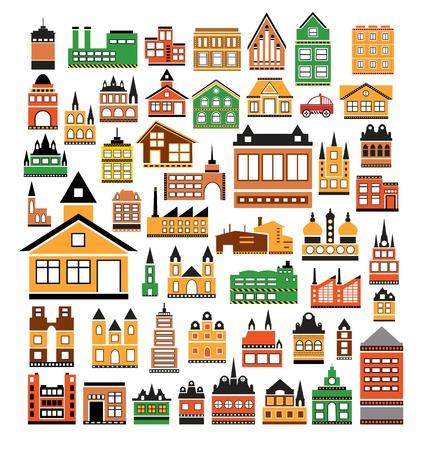Diversas variantes de casas en el blanco Ilustración de vector